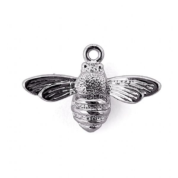 Rhodium Plated Wee Bee Charm 17x11x4mm